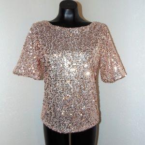 Vtg 90s Rose Gold Sequin Blouse in sz Medium